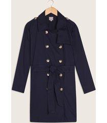 chaqueta trench con botones y cinturón en tela-14