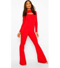 getailleerde wide leg jumpsuit met hoge kraag en uitsnijding, dark red