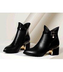 pb181 luxury pointy booties w horse heel, genuine leather, us size 4-10, black