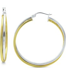 giani bernini medium two-tone twist hoop earrings in sterling silver & 18k gold plated sterling silver, 35mm, created for macy's
