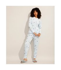 pijama manga longa de fleece estampado de estrelas azul claro