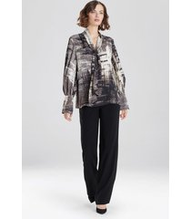 natori abstract tapestry silky soft blouse, women's, beige, size m natori