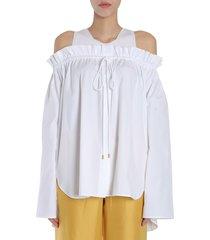 alberta ferretti cotton poplin blouse