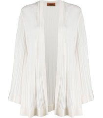 missoni micro-pleated longline cardigan - white