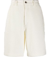 ami paris multi-pocket corduroy shorts - white