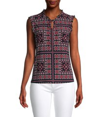 tommy hilfiger women's printed sleeveless top - midnight - size m