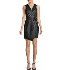 belted faux leather wrap dress