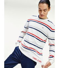 tommy hilfiger men's lightweight stripe sweater white/navy/red - xxl