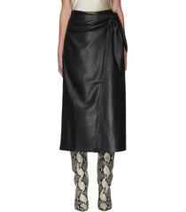 'amas' vegan leather midi skirt