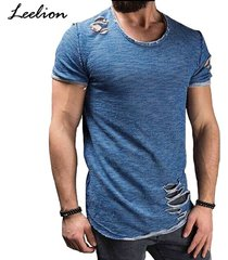 sólido slim fit o cuello algodón corto camiseta para hombres-azul