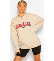 extreem oversized nebraska sweater met tekst, zand