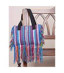 wool shoulder bag, 'fringed stripes in blue' (peru)