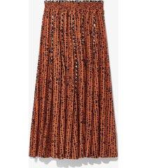 proenza schouler white label inky dot pleated skirt cinnamon/navy inky dot/orange 8