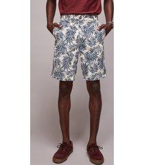 bermuda de sarja masculina reta estampada de folhagem com bolsos off white