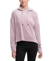 dkny sport velour cropped hoodie