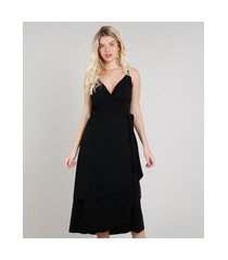vestido feminino mindset midi transpassado em camadas alça fina preto