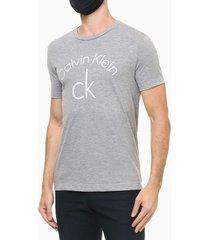 camiseta mc slim silk calvin klein - cinza mescla - pp