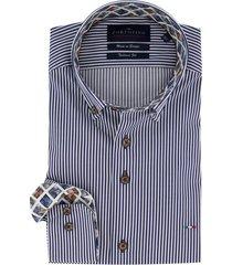 overhemd mouwlenge 7 portofino strepen blauw