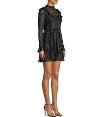 camille metallic polka dot a-line chiffon dress