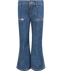 chloé blue denim flared girl jeans