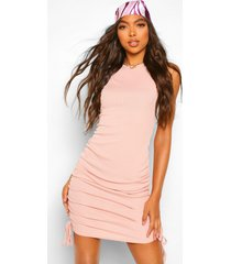 tall rib ruched side mini dress, blush