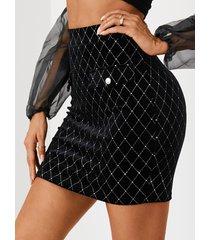 yoins bolsillo de terciopelo negro diseño falda geométrica