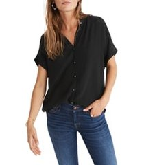 women's madewell central drapey shirt, size x-large - black