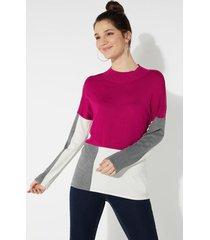 maglia manica lunga color-block