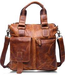 sacchetto di spalla trasparente del cuoio genuino di ekphero retro borsa a doppio uso borsa di spalla di grande capacità per gli uomini