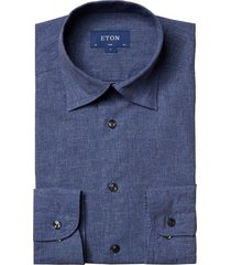 men's eton slim fit linen & cotton chambray dress shirt