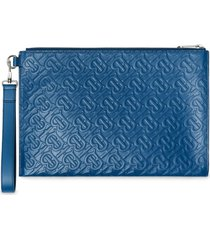 burberry monogram pattern pouch - blue