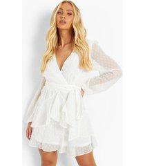dobby chiffon mini jurk met geplooide zoom, white