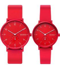 reloj fashion rojo skagen