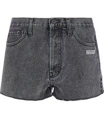 off-white logo frayed denim shorts