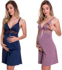 kit 2 camisola amamentação estilo sedutor em microfibra 1 azul marinho e 1 lilás - es206-v56
