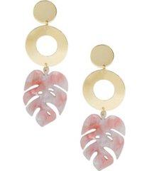 ettika in the tropics resin palm leaf earrings