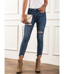 detalles rasgados azules super stretch jeans