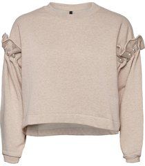 dani cropped jumper with pearl shoulder sweat-shirt tröja creme mother of pearl