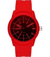 diesel men's armbar red silicone strap watch 45mm dz1820