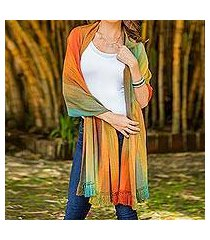 rayon chenille shawl, 'nature's ethereal inspiration' (guatemala)