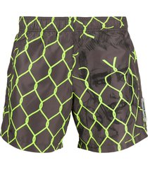 off-white broken fence swim shorts - brown