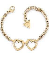 bransoletka z dwoma charmsami w kształcie serca model hearted chain