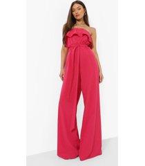 strapless wide leg jumpsuit met ceintuur, raspberry