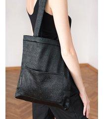 torba mini czarna błyszcząca prążkowana