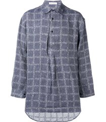 jw anderson navy logo grid tunic linen shirt - blue