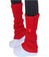 polaina 4 estações meia compressão lã quente conforto lisa esporte com botão vermelho