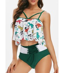 lace up dinosaur print overlay tankini swimsuit