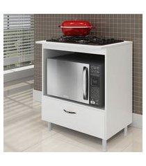 balcáo cooktop em mdf para 4 ou 5 bocas branco lilies móveis