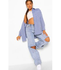 oversized geruite blouse, blue