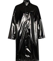 marine serre marée noire logo trench coat - black